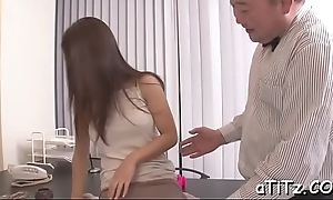 Spectacular asian hottie gives salacious and wild titty mad about