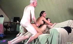 Smutty professor fucks putrid students old young 3some