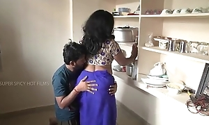 Indian mother increased by little one romance in kitchen