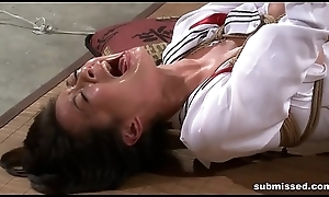 Asian consequent is hogtied, electro tortured plus dildo punished