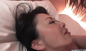 Queasy Japanese sweeping with big heart of hearts pussy drilled missionary flavour