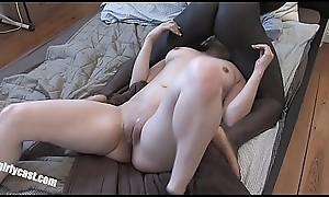 Turkish Floozie vs. fat ebony cock - First time