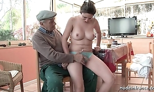 Correct titted french tenebrous team-fucked by papy voyeur