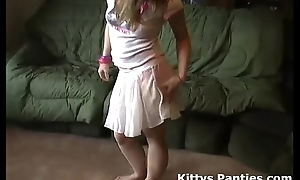 Teeny-weeny legal age teenager kitty shining her panties nearly a tin...