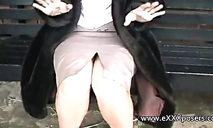 English milf persuaded to iota outdoors