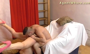 Reverse thrust - hot milf tests a guy's licki...