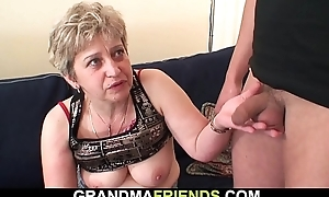 Shaved squander aged grandma swallows two cocks